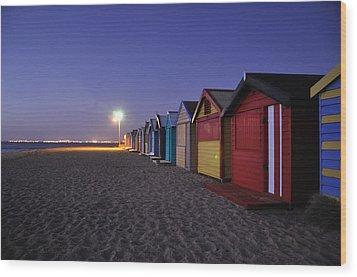 Beach Sheds At Dusk Wood Print by Nishan De Silva