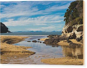 Beach Stream Wood Print by Graeme Knox
