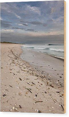 Beach Sunrise Wood Print by Cheryl Davis