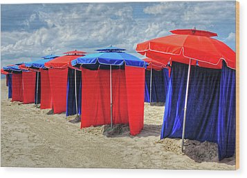 Wood Print featuring the photograph Beach Umbrellas Nice France by Dave Mills