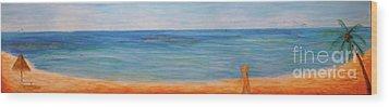 Beach Walk Wood Print by Monika Shepherdson