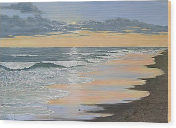 Beach Walk Reflections Wood Print by Kathleen McDermott