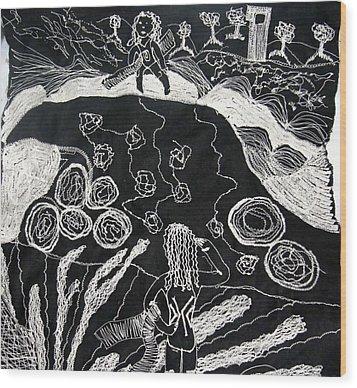 Beach Walking On Rocks Wood Print by Karen Elzinga