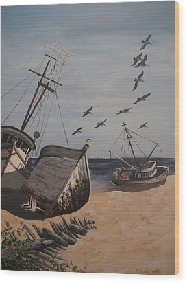 Beached Boats Wood Print