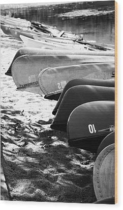 Beached Kayaks Wood Print by Julia Wilcox