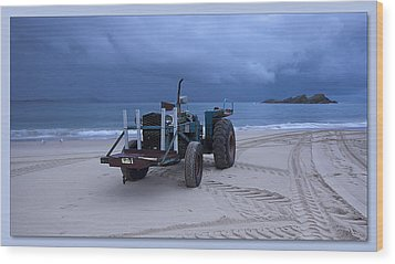Wood Print featuring the digital art Beached Tractor by Kevin Chippindall
