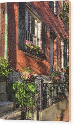Beacon Hill Sidewalks Wood Print by Joann Vitali