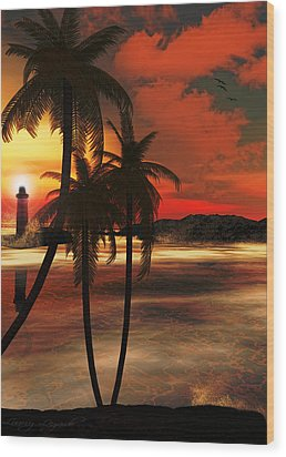 Beacon Of Light Wood Print by Lourry Legarde