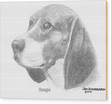 Wood Print featuring the drawing Beagle by Jim Hubbard