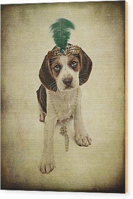 Beagle Puppy Flapper  Wood Print by Susan Schmitz
