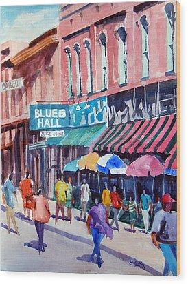 Beale Street Blues Hall Wood Print by Ron Stephens