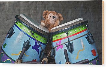 Wood Print featuring the photograph Bear And His Drums At Walt Disney World by Thomas Woolworth