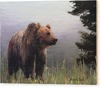 Bear In The Woods Wood Print by Wayne Pascall