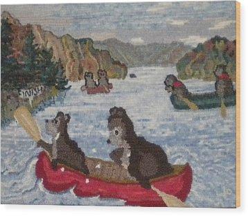 Bears In Canoes Wood Print by Brenda Ticehurst