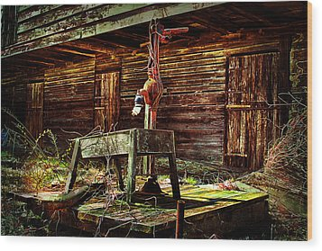 Beaten Down Barn Building Wood Print by Trudy Wilkerson