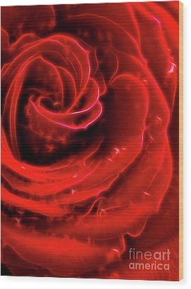 Beautiful Abstract Red Rose Wood Print by Oleksiy Maksymenko