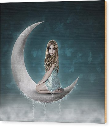 Wood Print featuring the photograph Beautiful Child Sitting On Crescent Moon by Ethiriel  Photography