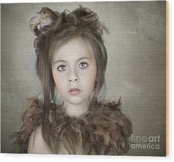 Wood Print featuring the photograph Beautiful Child With Bird by Ethiriel  Photography