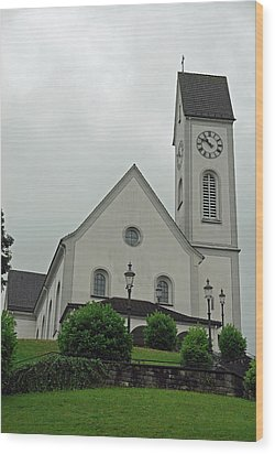 Beautiful Church In The Swiss City Of Lucerne Wood Print by Ashish Agarwal