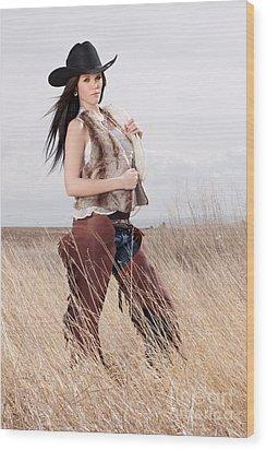 Beautiful Cowgirl Wood Print by Cindy Singleton