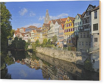 Beautiful German Town Tuebingen - Neckar Waterfront Wood Print by Matthias Hauser