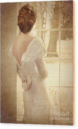 Beautiful Lady In Sequin Gown Looking Out Window Wood Print by Jill Battaglia