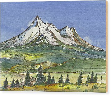 Wood Print featuring the painting Beautiful Mt Shasta  by Terry Banderas