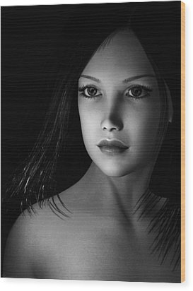 Beautiful Portrait - Black And White Wood Print
