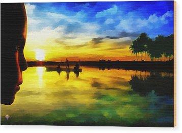 Beautiful Sunset Wood Print by Vidka Art