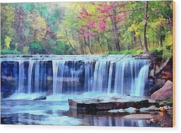 Wood Print featuring the digital art Beautiful Water Fall by Walter Colvin