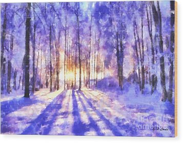Beautiful Winter Morning Wood Print by Elizabeth Coats