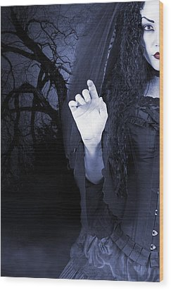 Wood Print featuring the photograph Beautiful Woman Outside At Night by Ethiriel  Photography