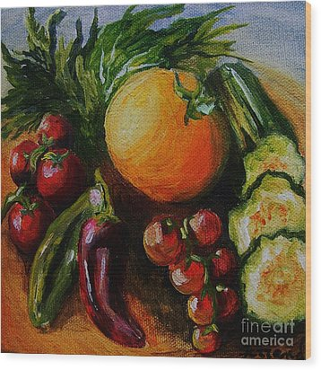 Wood Print featuring the painting Beauty Of Good Eats by Karen  Ferrand Carroll