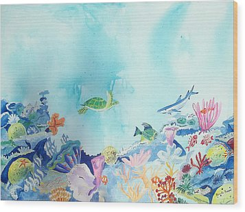Beauty Under The Ocean Wood Print by Renate Pampel