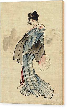 Beauty With Fan 1840 Wood Print by Padre Art