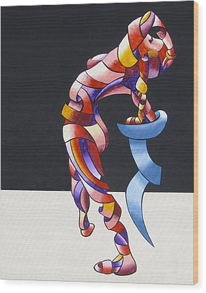 Wood Print featuring the painting Becca 208-08 - Abstract Geometric Futurist Figurative Oil Painting by Mark Webster