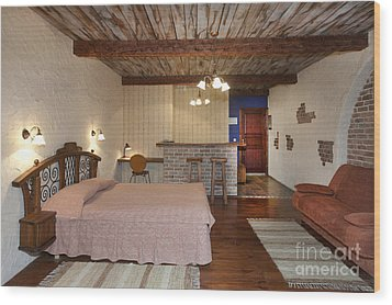 Bed In Hotel Room Wood Print by Jaak Nilson