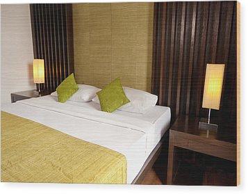 Bed Room Wood Print by Atiketta Sangasaeng