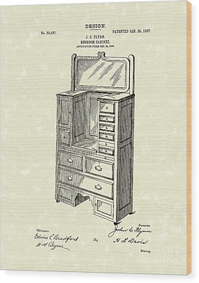 Bedroom Cabinet Design 1907 Patent Art Wood Print by Prior Art Design