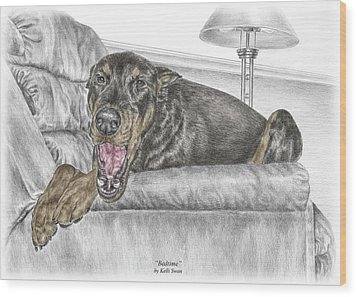 Bedtime - Doberman Pinscher Dog Print Color Tinted Wood Print by Kelli Swan