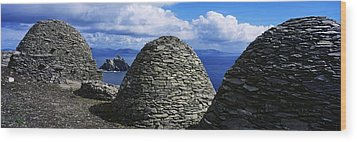 Beehive Huts At The Coast, Skellig Wood Print by The Irish Image Collection