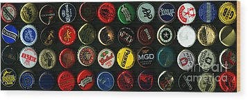 Beer Bottle Caps . 3 To 1 Proportion Wood Print by Wingsdomain Art and Photography