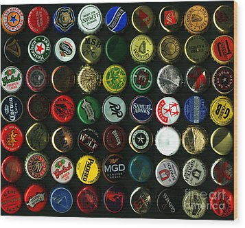 Beer Bottle Caps . 8 To 10 Proportion Wood Print by Wingsdomain Art and Photography