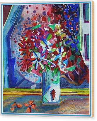 Beetle And Flowers Wood Print by Mindy Newman