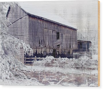 Behind The Barn Wood Print by Kathy Jennings