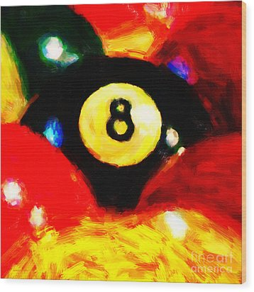 Behind The Eight Ball - Square Wood Print by Wingsdomain Art and Photography