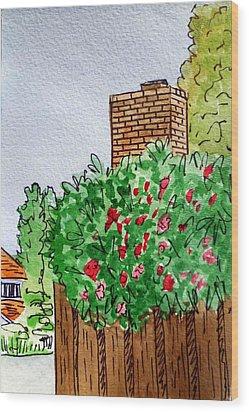 Behind The Fence Sketchbook Project Down My Street Wood Print by Irina Sztukowski
