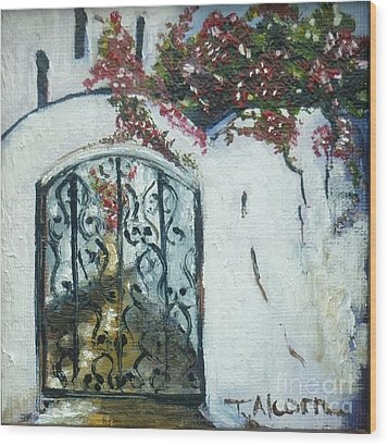 Behind The Iron Gate Wood Print by Therese Alcorn