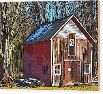 Behind The Old Factory Wood Print by MJ Olsen