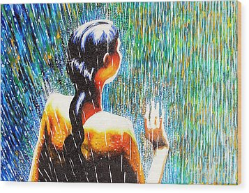 Behind The Rain Wood Print by Jose Miguel Barrionuevo